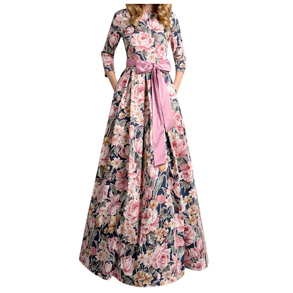 Willow S Women's Fashion Floral Print Dress Casual Round Neck Seven-Point Sleeves, Belt Long Dress and Floor Dress Navy by Willow S