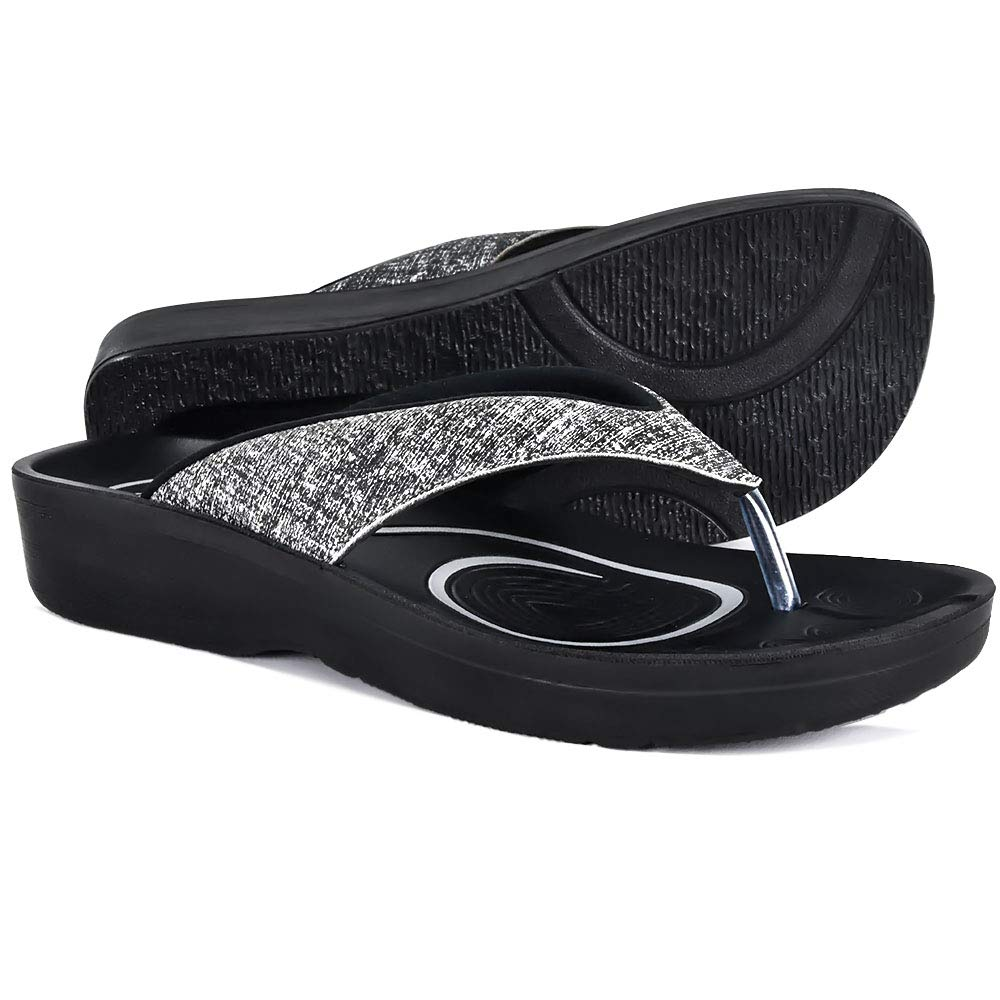 AEROTHOTIC Original Orthotic Comfort Thong Sandal and Flip Flops with Arch Support for Comfortable Walk (US Women 9, Mellow Black)