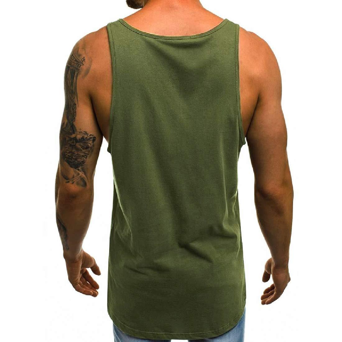 VITryst-Men Letter Printed Loose Sleeveless Crew-Neck Active Vest Tank Top