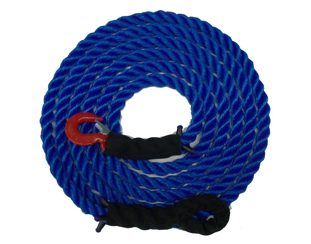 Tow Rope Heavy Duty Polypropylene with Hook and Loop, 12,500 LBS Breaking Strength for Mid Size Pickups and Cars, Made in the USA (40 Feet)