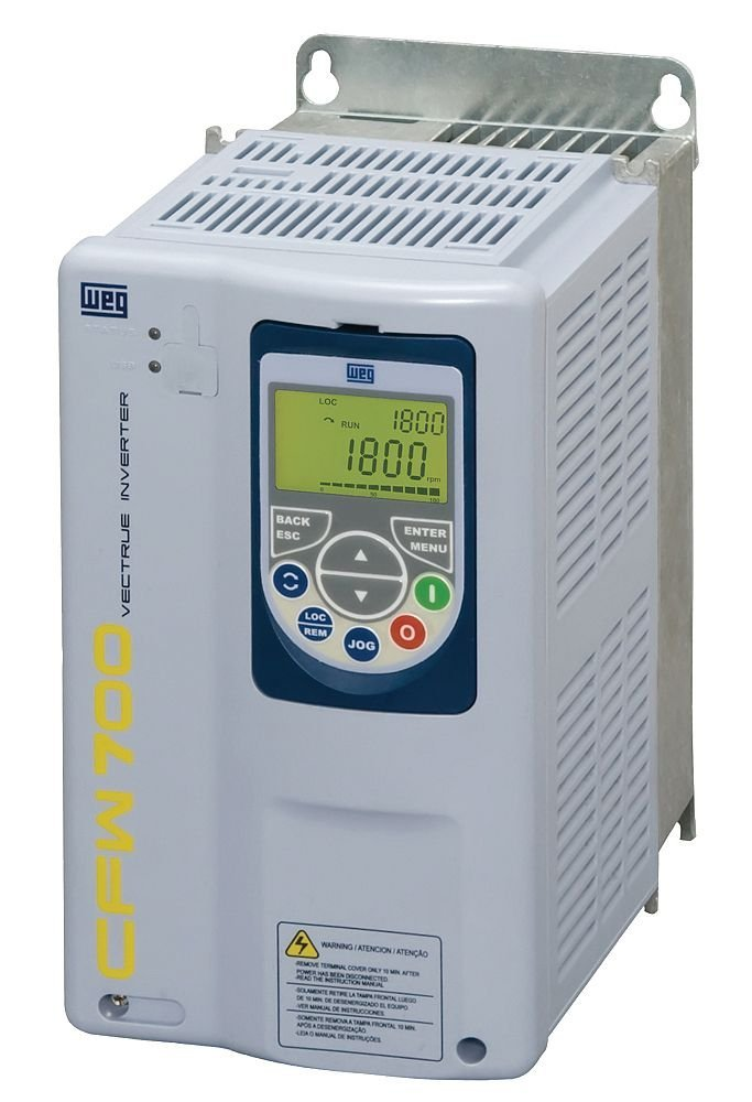 WEG CFW700A10P0T4DBN1 CFW700 Series Variable Frequency Drive, 5 HP, 10 A, 460 V, 3 Phase Input, 3 Phase Output