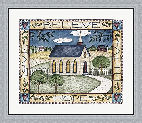 Believe (Faith, Hope, Love) by Shelly Rasche Framed Art Print Wall Picture, Flat Silver Frame, 32 x 28 inches by Great Art Now
