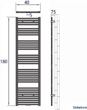 Antrazit 990 Watt Leistung Bad-Heizk/örper Bad Mittelanschluss Heizung Horizontal Rohrdurchmesser: 22mm Badheizk/örper Handtuchtrockner Heizk/örper 1800x400mm
