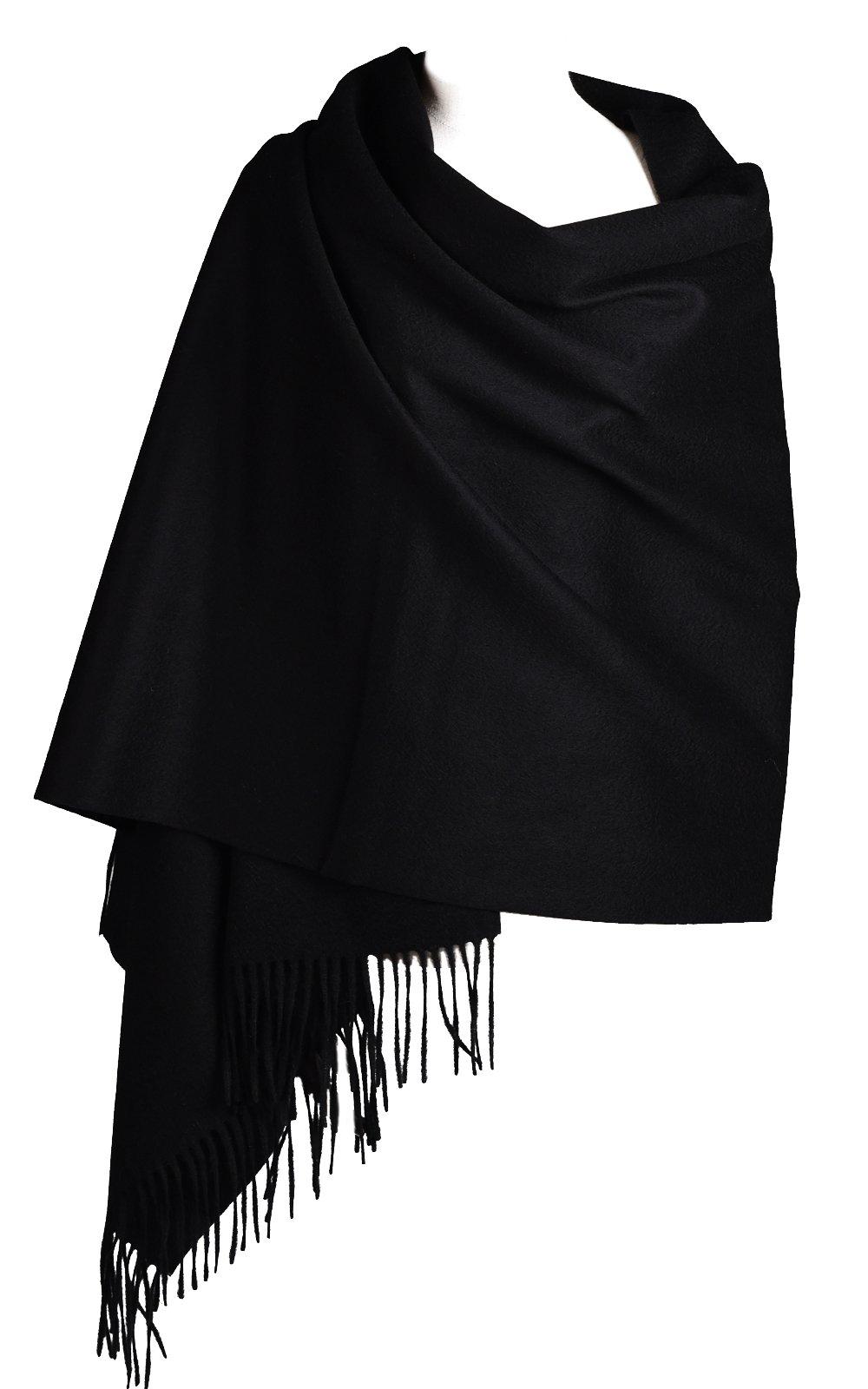 Women Soft Cashmere Wool Wraps Shawls Stole Scarf - Large Size 78''x 28''(Black)