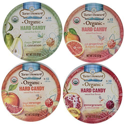 Torie & Howard Organic Hard Candy 4 Flavor Variety Bundle: Blood Orange & Honey, Pomegranate & Nectarine, Pink Grapefruit & Tupelo Honey and D'anjou Pear & Cinnamon, 2 Oz. Ea