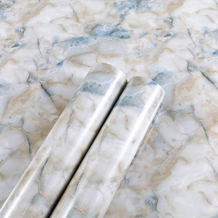 MULLSAN 24''x118'' Sea Sand Blue Stone Marble Look Paper Granite Wallpaper Peel and Stick for Countertop Cabinet Furniture Renovated Thick Waterproof PVC