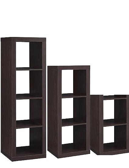 Better Homes And Gardens 3 Piece Cube Organizer Storage Bookshelf In Espresso Bundle Set