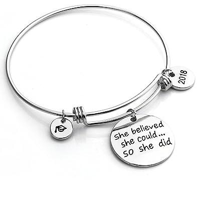 Inspirational Bracelet She Believed She Could so She Did Women Girl Family Friend Adjustable Bangle Gift V2d7EA6JNI
