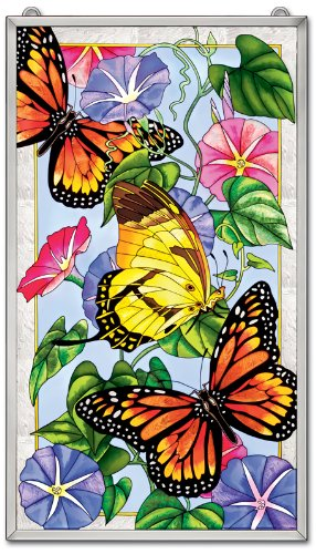 Amia 5316 Hand Painted Glass Window Decor Panel Featuring Butterflies, 13-Inch by 23-Inch by Amia