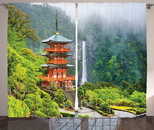Ambesonne Home Decor Collection, Far Eastern Temple Surrounding Trees and Fall Foggy Mystical Asian Scene Zen Wall Picture, Living Room Bedroom Curtain 2 Panels Set, 108 X 84 Inches, Green Red