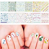 Whaline Summer Nail Art Stickers 3D Self-Adhesive Stickers Flamingo Cactus Fruits Ocean Leaves Decals for Women Girls Kids Manicure DIY or Nail Salon, 12 Sheets (More than 1000Pcs)