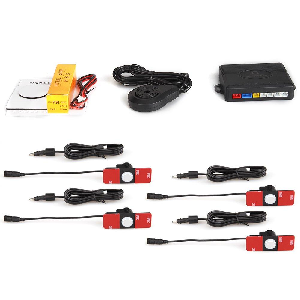CAR ROVER Original Flat Car Parking Reverse Sensor Kit with Buzzer Alert 4 Point 13mm Black Parking Sensor