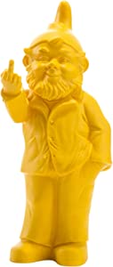 """Ottmar Horl - Gnome Sculpture Decor -Flipping Middle Finger - Outdoor or Indoor NaughtyArt Statue - Molded Plastic - Large 14.57"""" x 6.69"""" x 3.94"""" inches - Made in Germany (Yellow)"""