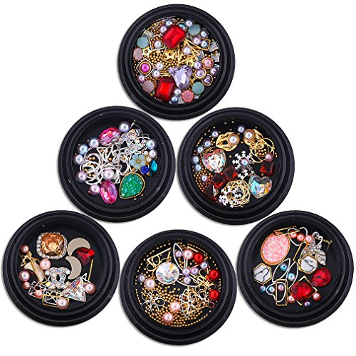 PINPAI 6 Boxes Multi Styles Nail Art Rhinestones and Charms Manicure Beads Pearl Stones Alloy Studs 3D Decorations Crystal Gems Diamond Jewelry for Nails Decor Crafts Eye Makeup Clothes Shoes (Rhinestones Pearl Charms)