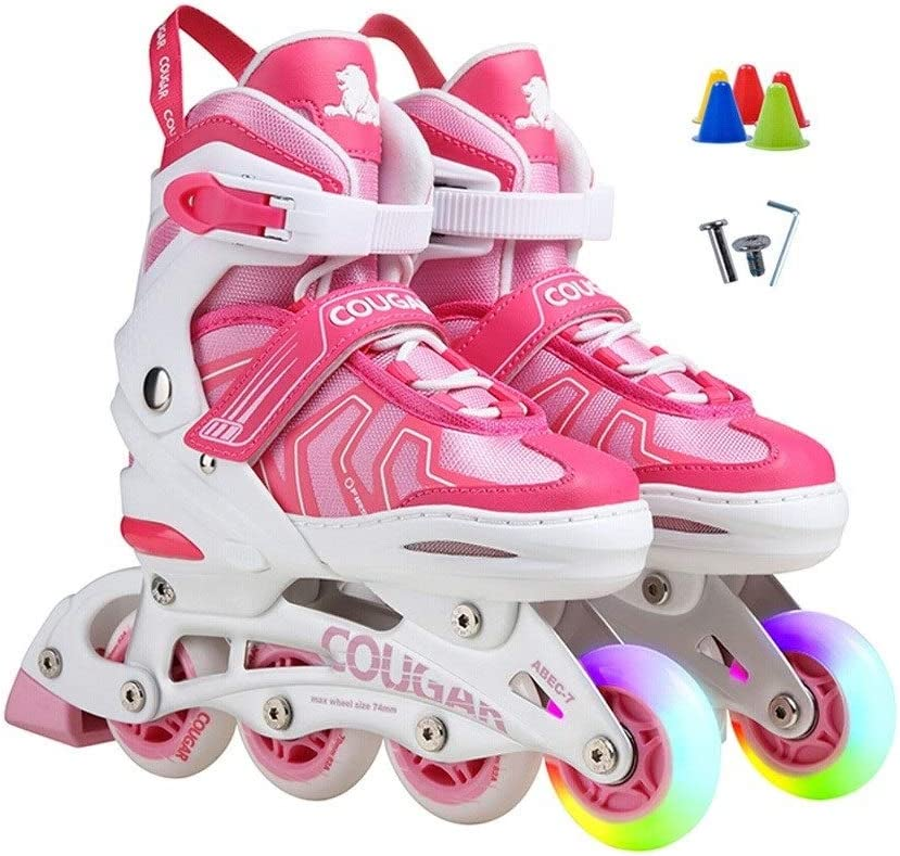 屋外メッシュ 快適なレクリエーションの子供のインラインスケート、女の子摩耗耐性初心者プロローラースケート (Color : A, Size : M(32-35)) A M(32-35)