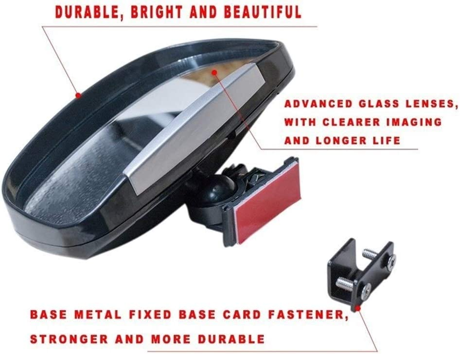 der Durable 1 Paire 360 degr/és de Rotation r/églable R/étroviseur Voiture Blind Spot Miroir Grand Angle for Le stationnement auxiliaire Miroir Miroirs pour Angles Morts Color : Silver