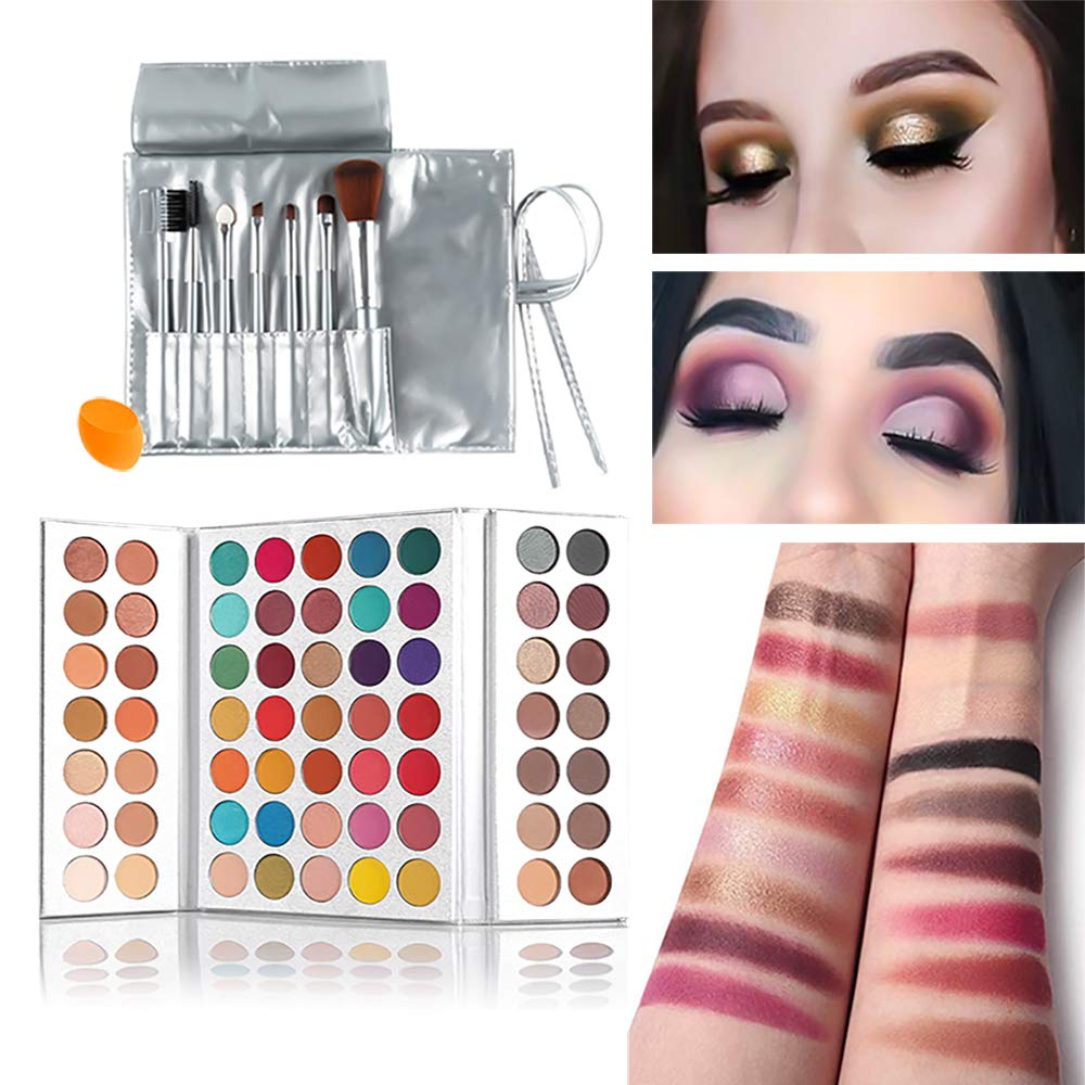 Beauty Glazed 63 Colors Eyeshadow Professional Makeup 63 Colors EyeShadow Palette Powder With Profession Makeup Brushes Set and Powder Blender Gorgeous Me Cosmetics Perfect Color Eye Shadow Tray Set by Beauty Glazed