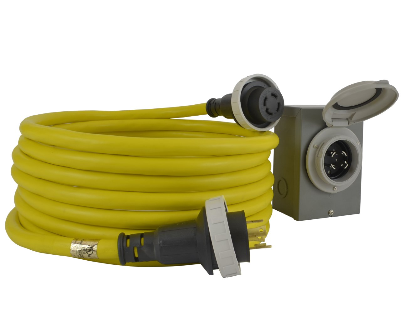 Conntek GIBL1430-025 30 Amp Generator Cord and Inlet Box Temp Power, 25'