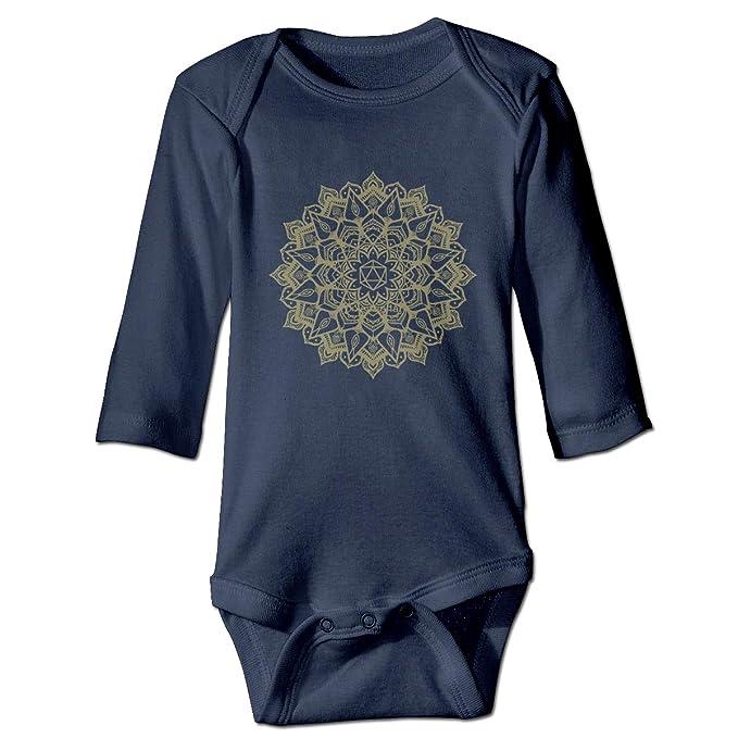 KIDDDDS Baby's Mandala Gold Long Sleeve Romper Onesie Bodysuit Jumpsuit