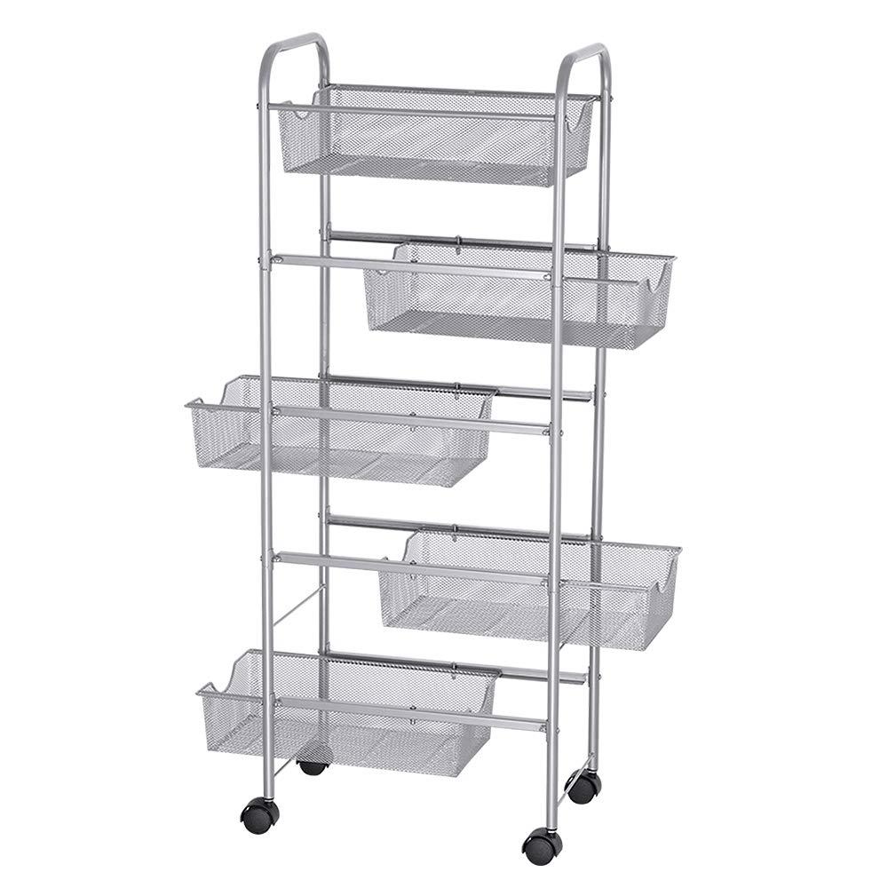 NEX Storage Cart Organizer with Drawers Basket Wheels Durable Mesh Wire Rolling Cart