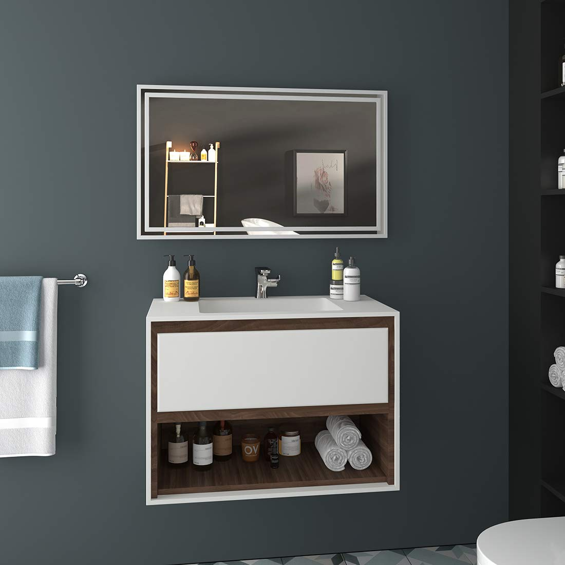 EMKE LED miroir de salle de bains 100x60cm miroir de salle de bains avec /éclairage Warmwhite miroir lumineux miroir mural IP44 /économie d/énergie