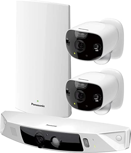 Panasonic HomeHawk Outdoor Wireless Smart Home Security Camera, Wide Angle View, Color Night Vision, 2-Way Talk, Works with Alexa & Google Assistant, 3 Camera Kit (KX-HN7003W), White