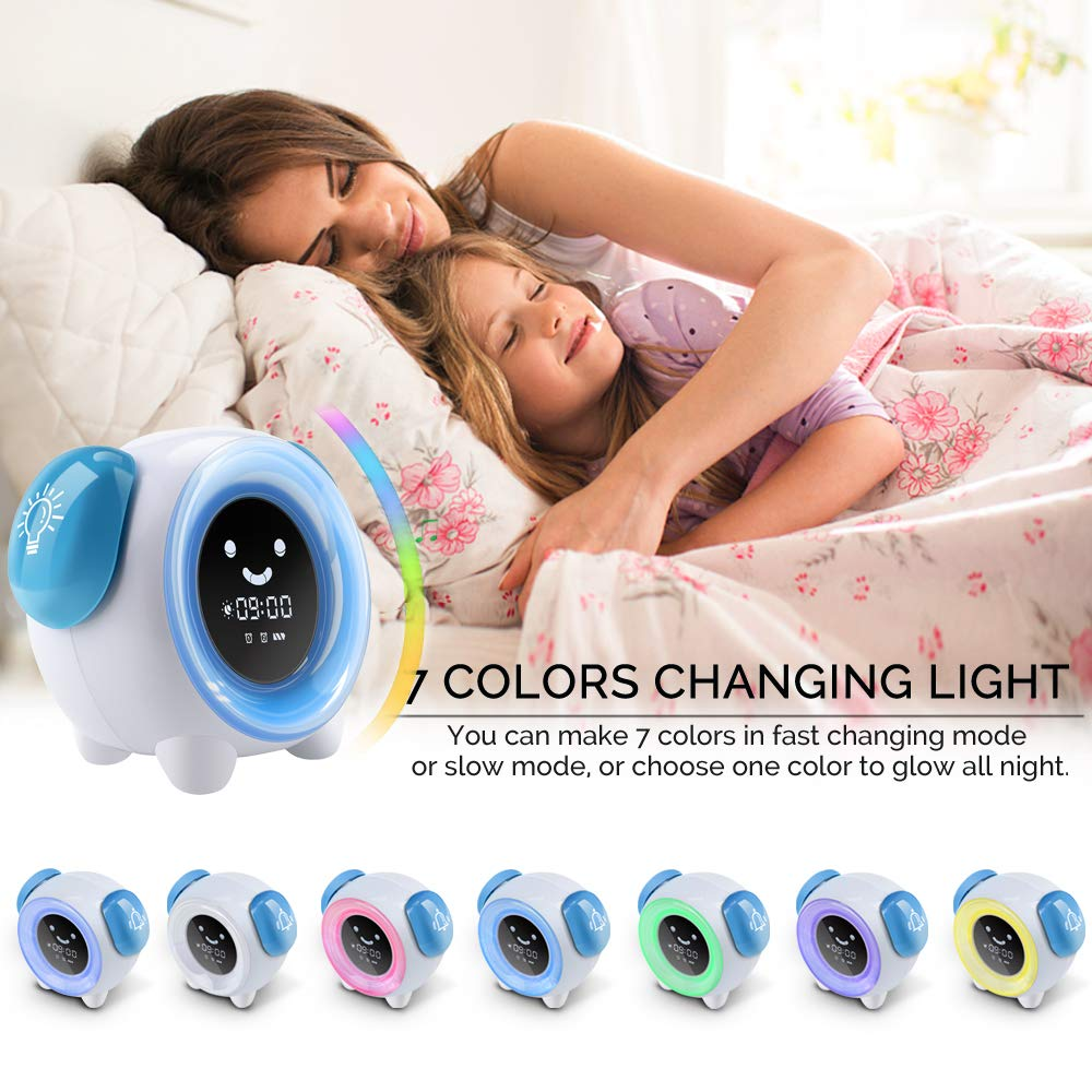 BestXiuyi Kids Alarm Clock Rechargeable Night Light Clock with 2400mAh Battery Charging USB Teach Kids Time to Wake Up Children Sleep Training Alarm Clock with 7 Changing Colors Blue MZTDYTL