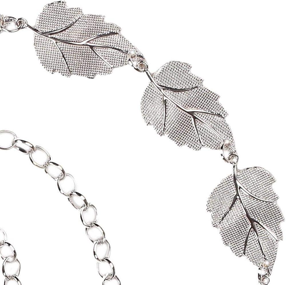 ZZpioneer Womens Fashion Leaves Metal Chain Style Belt Body Chain Adjustable Belt Dress Accessorie