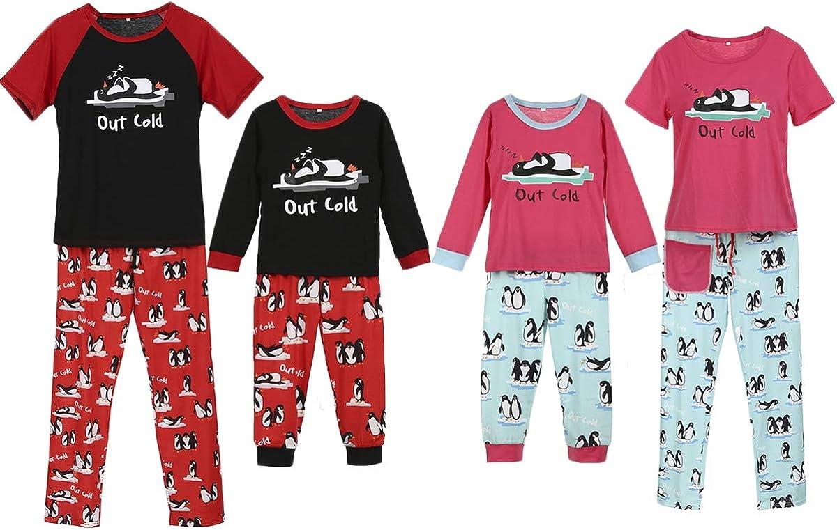 Family Matching Holiday Out Cold Penguin Print Shirt Pant Cotton Pajamas Sleepwear Set