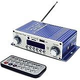 Mini Amplificateur Audio 12V HIFI Amplificateur de Son Mini Ampli Audio Stéréo Super Bass Car Amplifier avec Télécommande Pour Voiture/Maison Radio Ordinateur SD/DVD/USB/MP3/FM