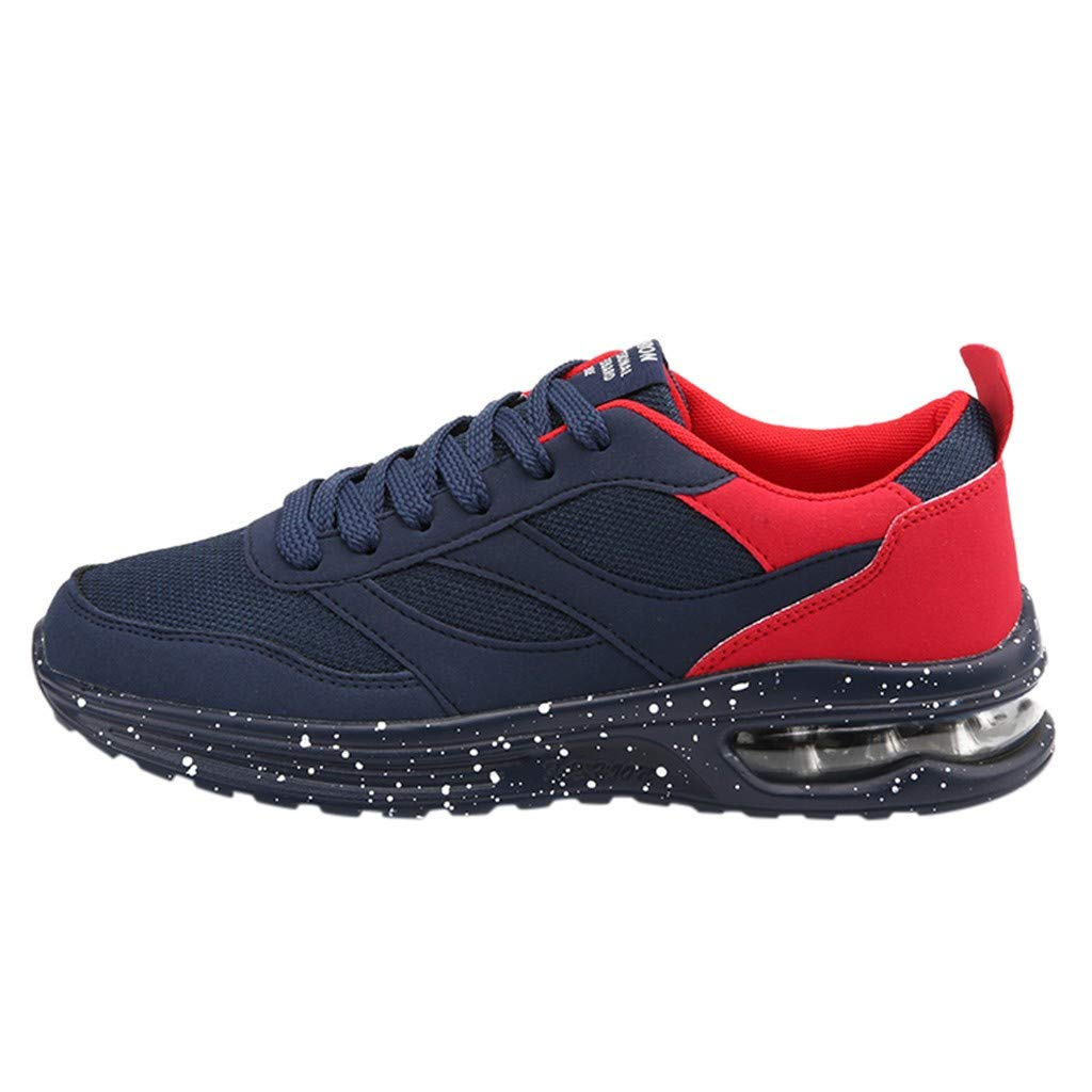 HENWERD Breathable Walking Running Shoes for Women Casual Student Lace-Up Sports Shoes (Red,8.5 US)