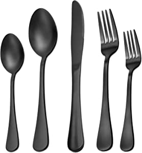 40 Pieces Matte Black Silverware Set Serve for 8, Stainless Steel Flatware Set Utensils Cutlery Tableware Set Including Steak Knife Fork and Spoon, Gift Package for Wedding Housewarming