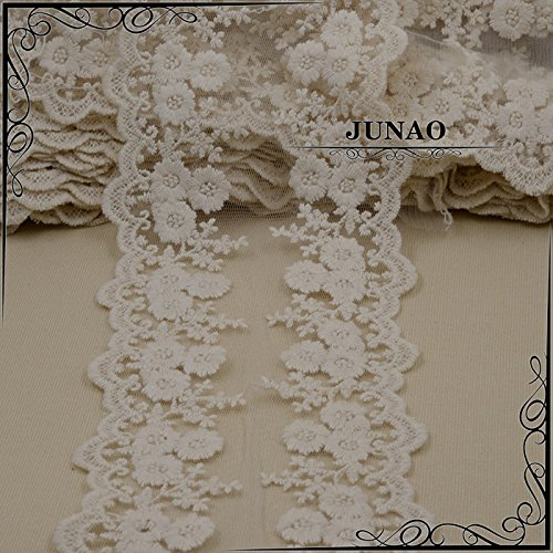 5 Yard Cotton Lace Fabric Flower Embroidered Ribbon Trim Water (Scalloped Lace Pen)