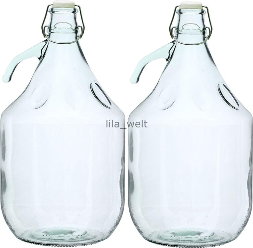 2 Stück 5L Weinballon Glasballon gut schließbarer Bügelverschluss Glasflasche
