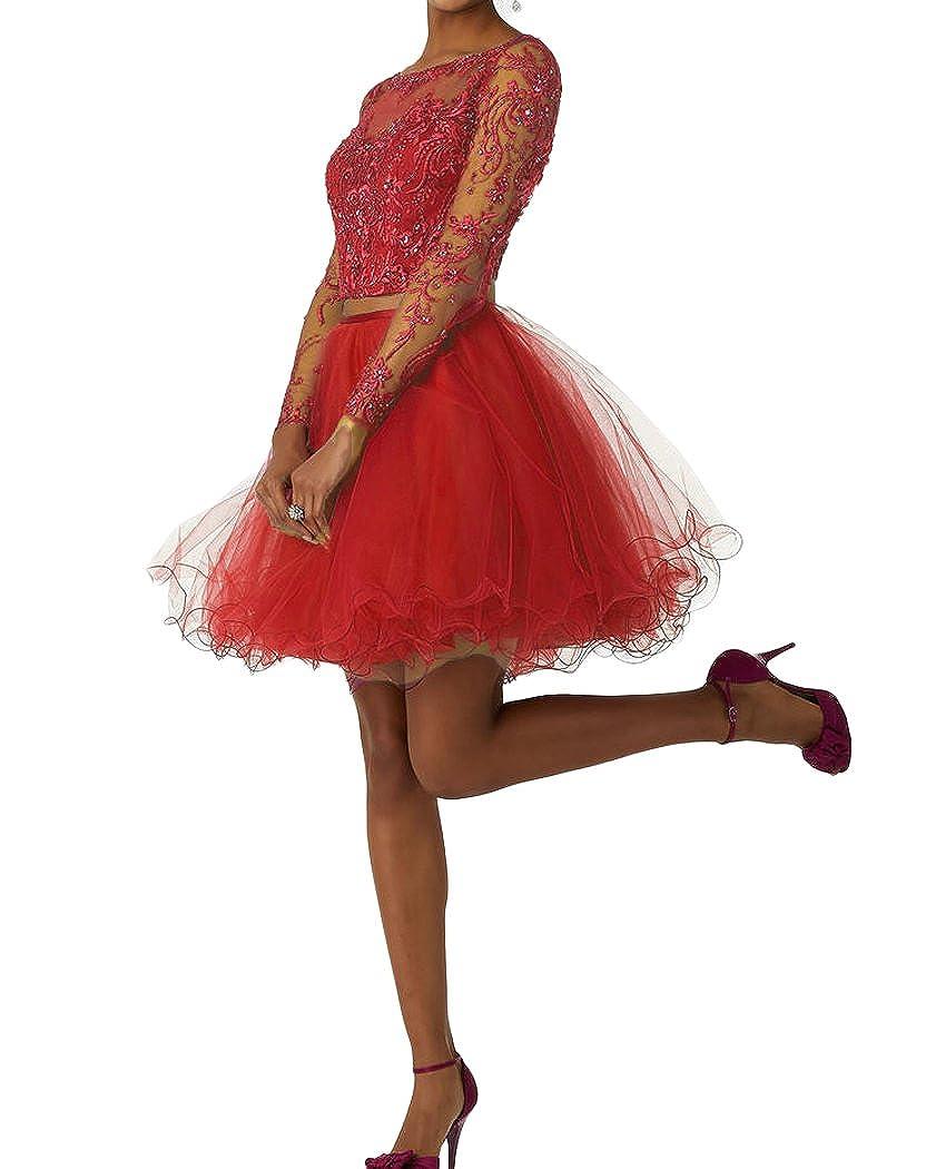 Red QiJunGe Women's Two Piece Homecoming Dress Lace Applique Short Graduation Dress