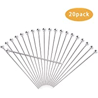 DodoBee 20 PCS Cocktail Picks, 4 inch Long Toothpicks for Cocktail, Reusable Metal cocktail pick, Food-Grade Stainless Steel Martini Picks, Cocktail Swizzle Sticks Good for Cocktail Garnishes and Food