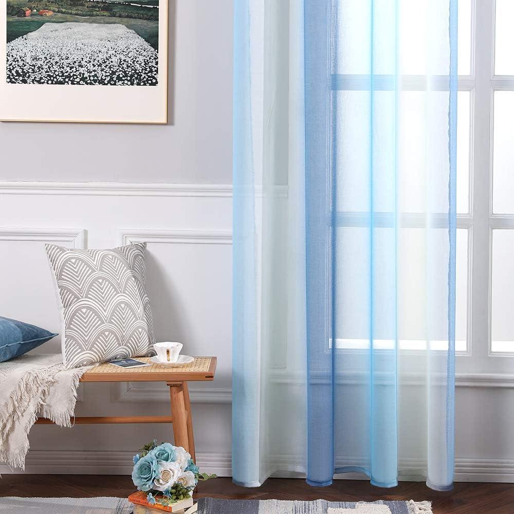 MIULEE Cortina Transl/úcida Visillo Gradiente Color Degradado Dos Paneles de Ojales Plateados Gasa para Ventanas Habitacion Dormitorio Cocina Sala de Estar 140x245cm Gradiente Lateral Azul Beige