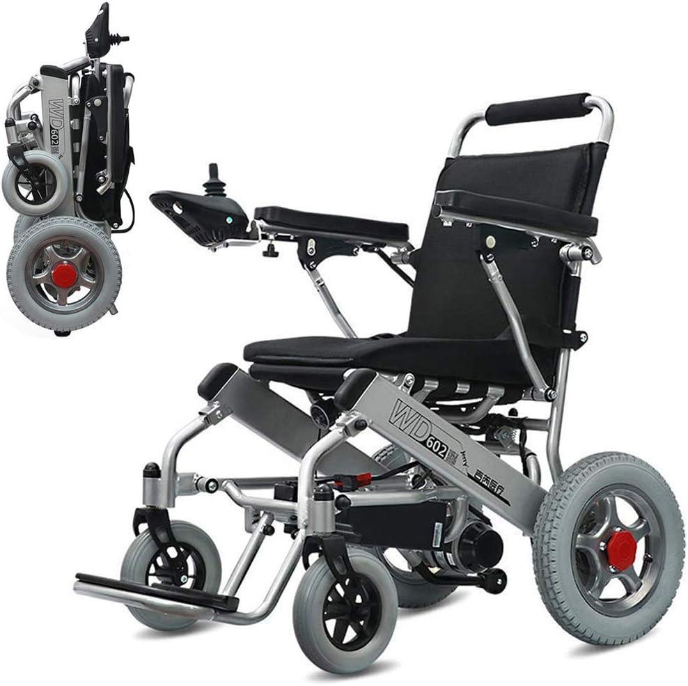 WMMY Silla de Ruedas Eléctrica Power Chair - Silla de Ruedas eléctrica de Aluminio Plegable para Personas Mayores y discapacitadas
