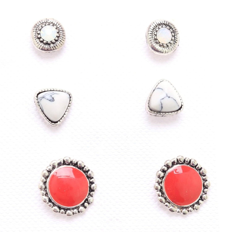 Set de 3pares de pendientes en metal color plateado envejecido y Rocaille–blanco–rojo