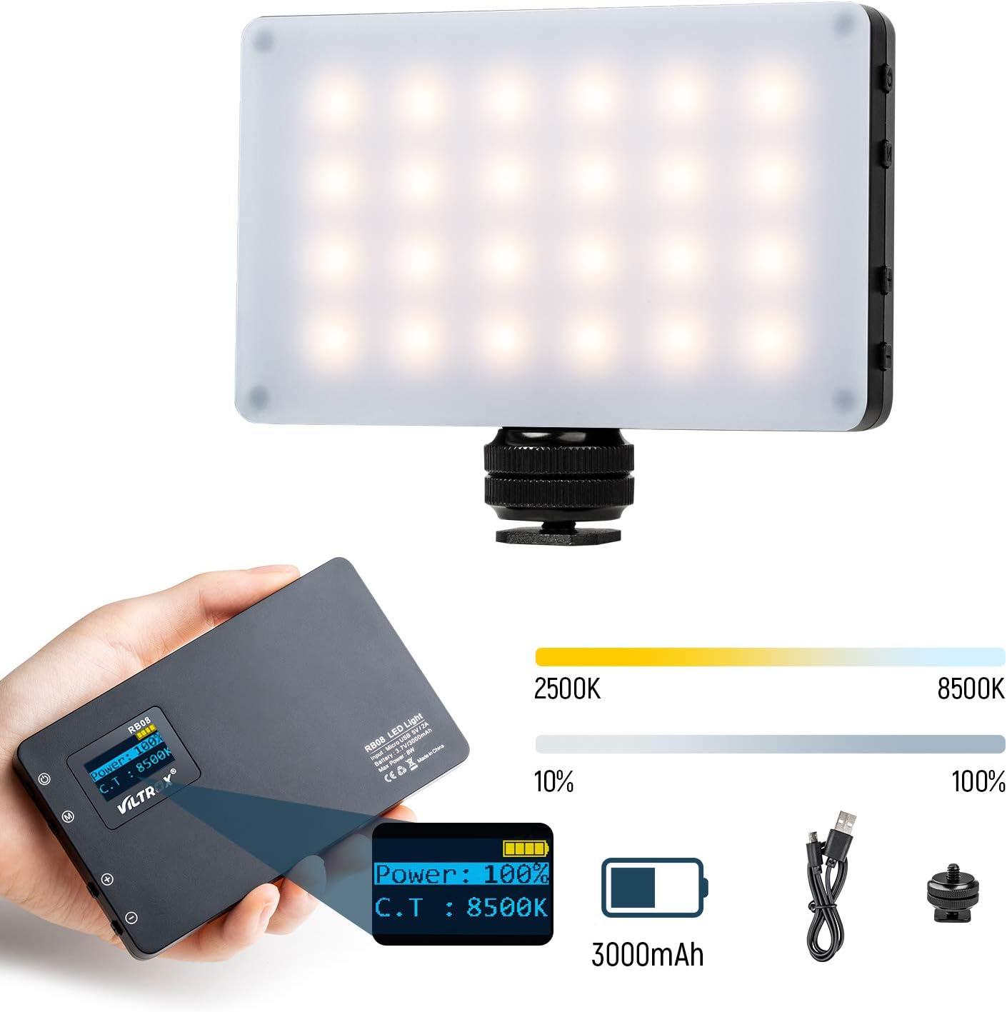 Pocket On-Camera Video Fill Light 2500K~8500K for DSLR Camera Camcorder with 3000mAh Battery CRI 95 Magnet Filters Mini LED Light