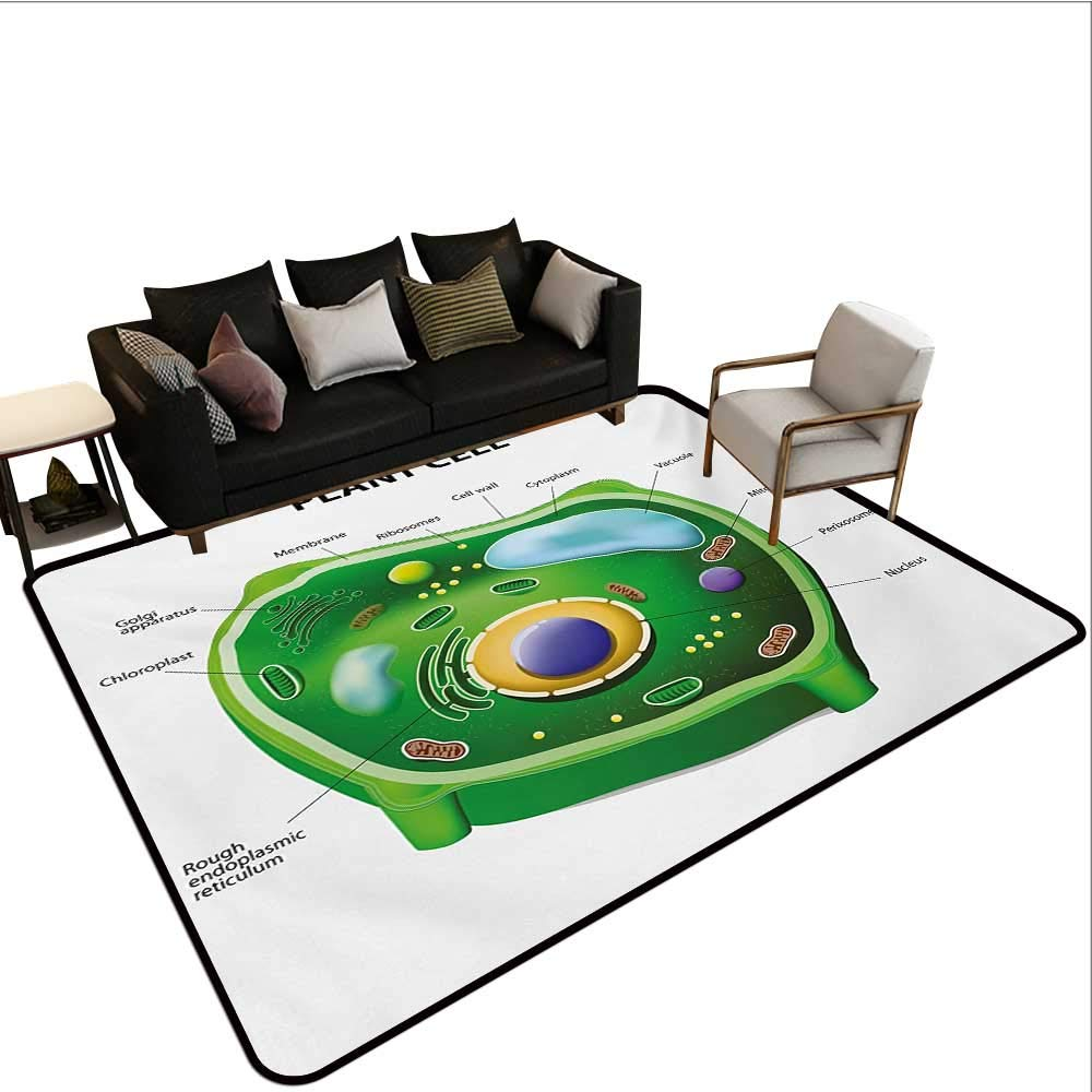 Home Custom Floor mat,Plant Cell Biology Research Botany Anatomy Structure Organic Life Nature 6'6''x9',Can be Used for Floor Decoration