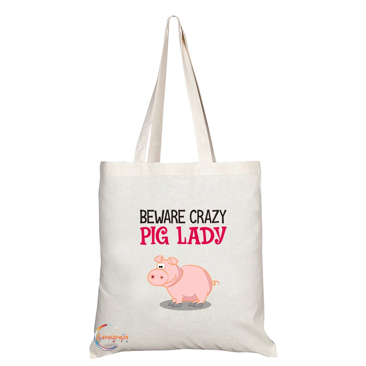 TB233 Beware Crazy Pig Lady Novelty Present Gift Printed Eco-Friendly Stylish Long Handled Tote Shoulder Bag Coralgraph Inc