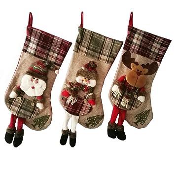 Multiples Plaid Tartan Fabric stuffed Reindeer Christmas tree ornaments