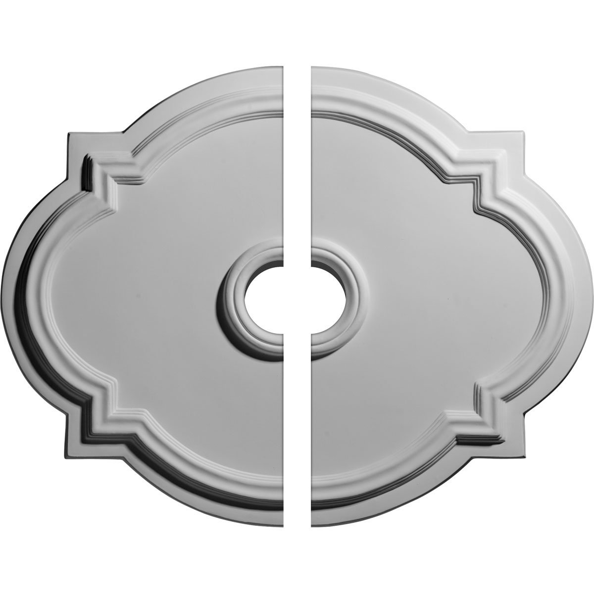 Ekena Millwork CM21WA2-03500 21 1/4'' W x 17 3/8'' H x 3 ID x 1'' P Waltz Ceiling Medallion, Two Piece (Fits Canopies up to 4 1/2''), Factory Primed and Ready to Paint