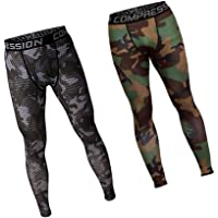 D DOLITY 2 Pieces Men Camouflage Exercise Legging Running Tight Pants Sport Pants