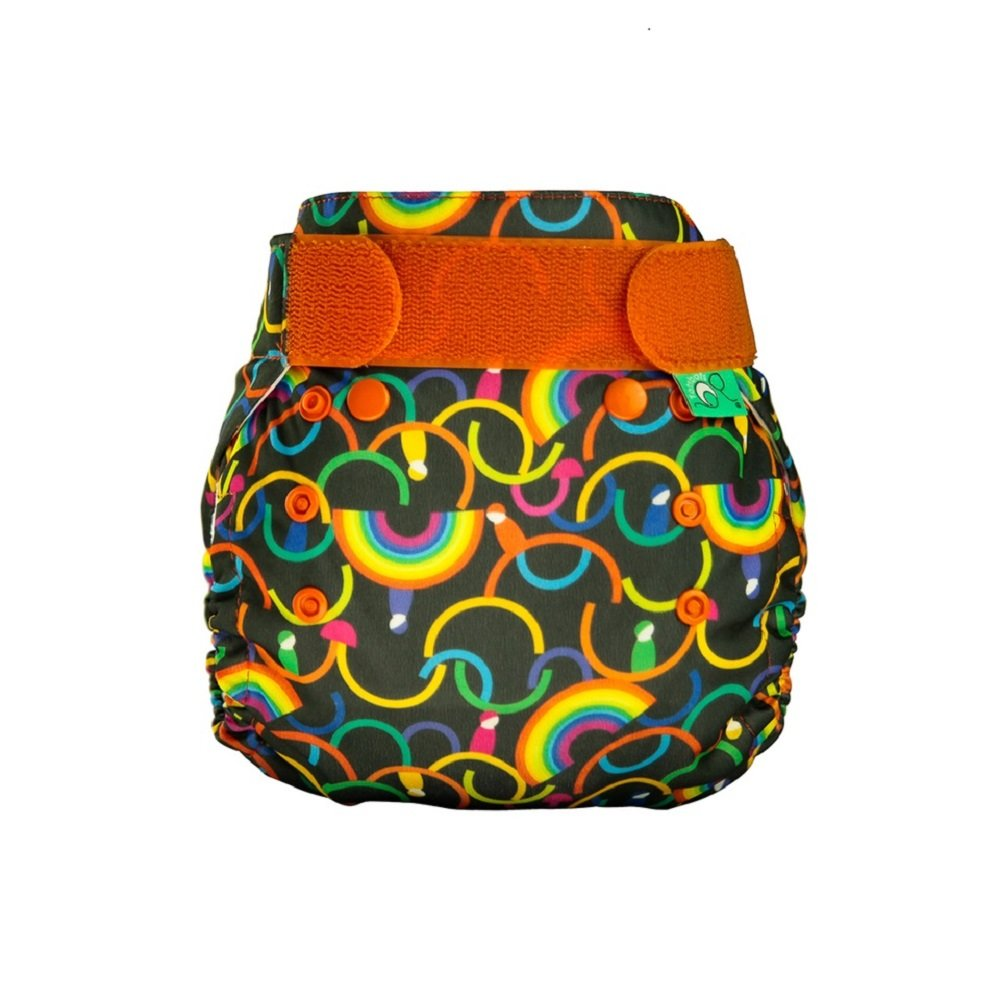 TotsBots PeeNut Reusable Wrap Size 2 with PeeNut 3 in 1 Pad - Complete Reusable Washable Nappy in Rainbeau Design