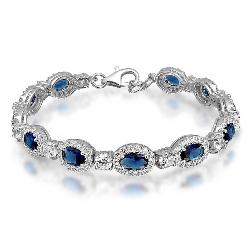925 Sterling Silver Vintage Style Oval Simulated Sapphire CZ Pave Tennis Bracelet