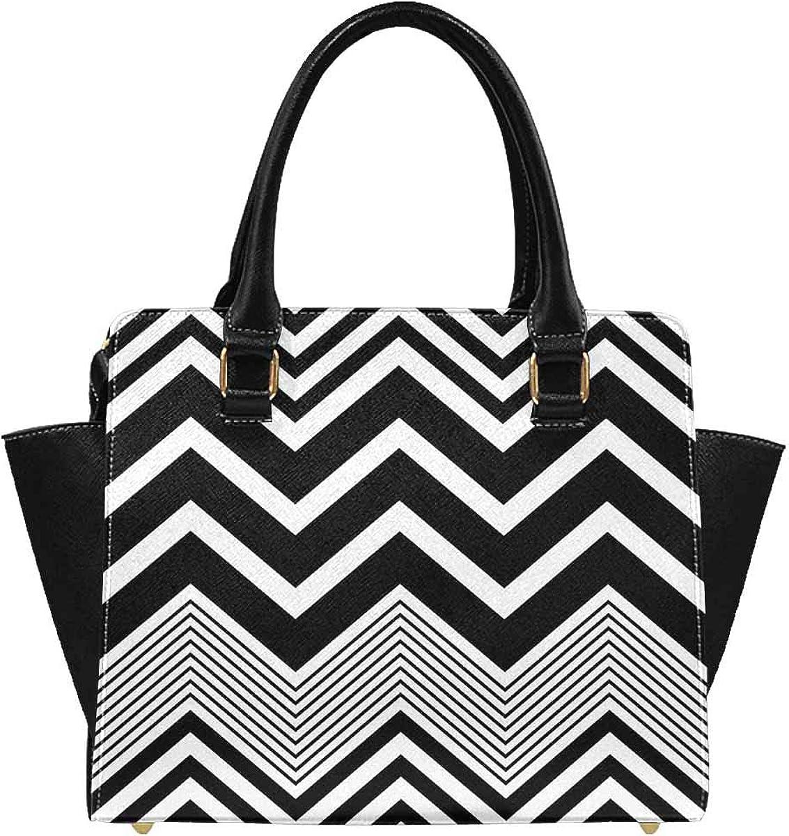 InterestPrint Womens Zebra Texture Background Rivet Shoulder Handbag Tote Bags Wallets