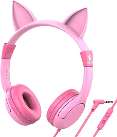 Amazon Com Upgrade Iclever Boostcare Kids Headphones Cat Ear Hello Kitty Headphones For Kids On Ear For Boys Girls Adjustable 85 94db Volume Control Childrens Headphones With Mic For School Tablet Pink Electronics