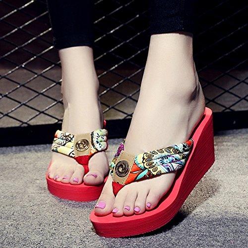 FEI Mädchen Sandalen Strand-Pisten-Schuhe High-heels Sandalen Anti-Rutsch-Pantoffeln Sandalen mit Größen Rutschfest ( Farbe : 1001 , größe : 34 ) 1004